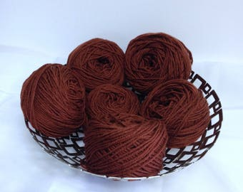 Burnt Sienna Brown Colored Worsted Yarn Cakes Bundle, Hudson Bay Baycrest Sayelle Acrylic Yarn for Knitting & Crocheting Handmade Gifts