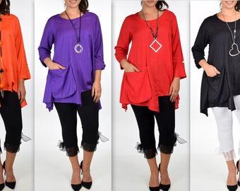 Artsy Tunic, Lagenlook Tunic,  Asymmetrical Tunic, Front Pocket , Plus size tunic, Tunic with 3 Pockets . Size L/XL- 1XL/2XL- 3XL/4XL