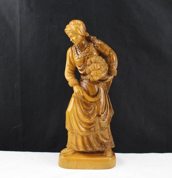 "Antique Flemish Box Wood Sculpture, Carving, Peasant Woman Circa 1900 10 1/2"""