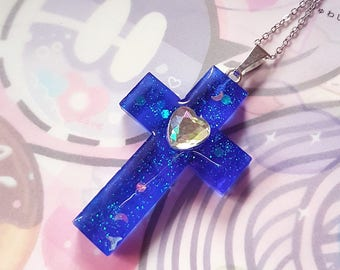 Blue Cross Necklace - Gothic Lolita Kawaii Fashion Jewelry