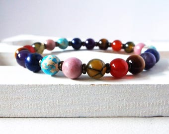 7 Chakra mala bracelet. Genuine stone high quality stretch bracelet. Spiritual healing. Chakra balancing. 8mm stones. For men or women