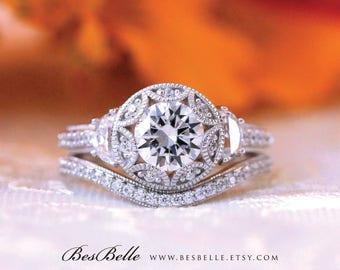 2.26 ct.tw Vintage Art Deco Bridal Set Ring-Brilliant Cut Diamond Simulants-Engagement Ring W/ Curve Wedding Ring-Sterling Silver [61971-2A]