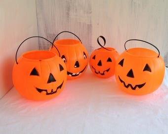 pumpkin party plastic pumpkin heads 4 four halloween pumpkins trick or treat bags baskets halloween decoration - Plastic Pumpkins