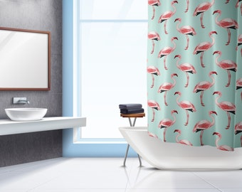 Flamingo Shower Curtain, Tropical Shower Curtain, Flamingo Bathroom, Bath  Curtain, Bathroom Decor
