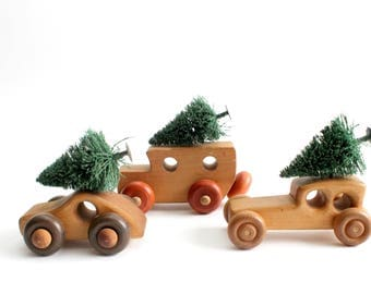 Vintage Toy Cars, Collection of Three, Wooden Toy Cars