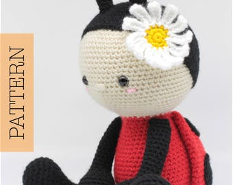Crochet Amigurumi Ladybug PATTERN ONLY, Jadybug, pdf Stuffed Animal Toy Pattern