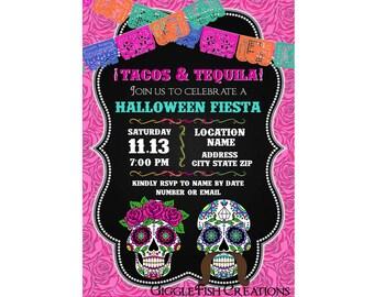 Sugar Skulls,  Roses | Tacos & Tequila | Digital Invitation for Halloween or Day of the Dead Party | Dia de los Muertos