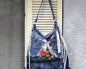 Denim Blue Raw Edged Leather Bag Boho Blue Denim Purse with Leather Fringe, Ruffles Upcycled Jean with Embroidery Pockets Paris Eiffel Tower