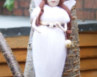 Angel. Fairy. Yule. Christmas. Pagan Fairy. Christmas Fairy. Angel Decoration. Yuletide Decoration. White Fairy. Merino Fairy. Felted Fairy.