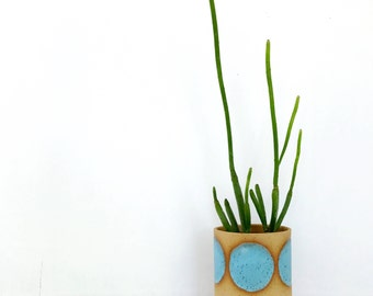 Modern Ceramic Planter / Turquoise Circle / Geometric Pottery for Succulents, Cacti or House Plants / The Eclipse Planter / READY TO SHIP