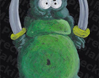 Sword Monster Painting - HD poster print of acryl painting on wood