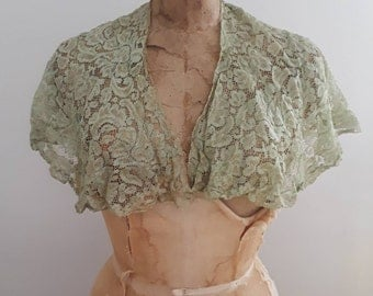 Vintage 1920's Mint Green Floral Lace Collar Shawl Trim Flapper Art Deco Boardwalk Empire