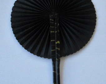 Unusual Antique Cockade Fan Paper Leaf and Marbled Bakelite Handle Art Deco Mourning Fan Folding Ladies Accessory