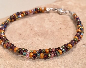 Bronze seed bead double strand bracelet, Czech bead bracelet, sterling silver bracelet, boho style bracelet, yoga bracelet, fall bracelet
