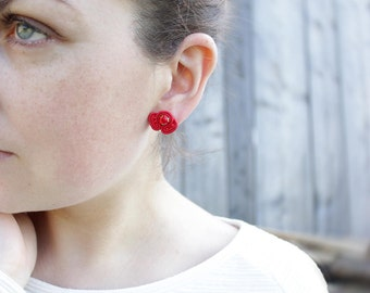 Small stud earrings Tiny earrings Red stud|earrings Dainty earrings studs Red earrings Red small earrings Soutache earring Red post earrings
