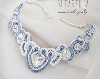 Light Blue White soutache necklace bridal jewelry with crystal jewelry gift pale blue necklace blue pastel collana statement necklace