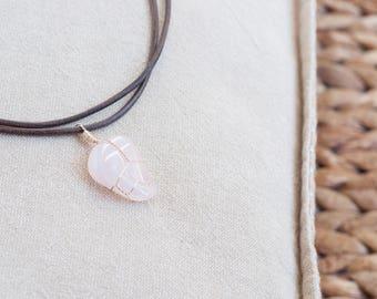 Rose Quartz Crystal Choker Necklace Rose Quartz Choker, Gift for Women, Healing Crystal Necklace Gemtone, Bohemian Necklace Crystal Pendant
