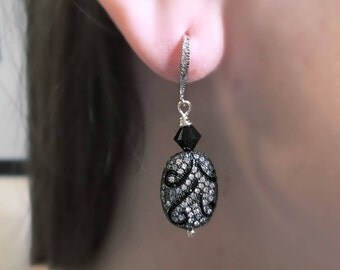 Silver & Black Pave CZ Earrings