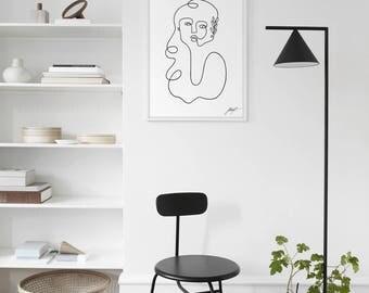 Minimal Digital Print, Modern Abstract Portrait , Wall Art, Scandinavian Style, Printable Artwork, Minimalista Decor, Continuous Art Print