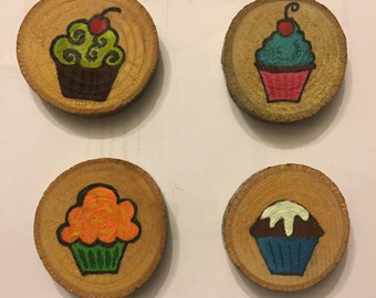 Cupcake Magnet Set, Stocking Stuffer, Gift Idea, Under 15, Hand Painted Magnets, Wood Magnets