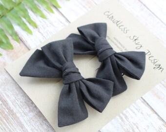pigtail bows, black bows, bow, pigtail set, black pigtail bows, pigtail bow sets, bow clips, bows for girls, baby bows, halloween hair bows
