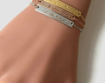 Personalized gift name bar bracelet custom initial bracelet gold bar bracelet bridesmaid gift Christmas gift girlfriend gift birthday gift