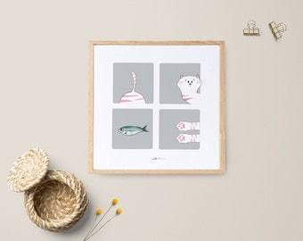 Ilustración Gato rosa:   Es una ilustración divertida ideal para regalar a los amantes de los gatos.