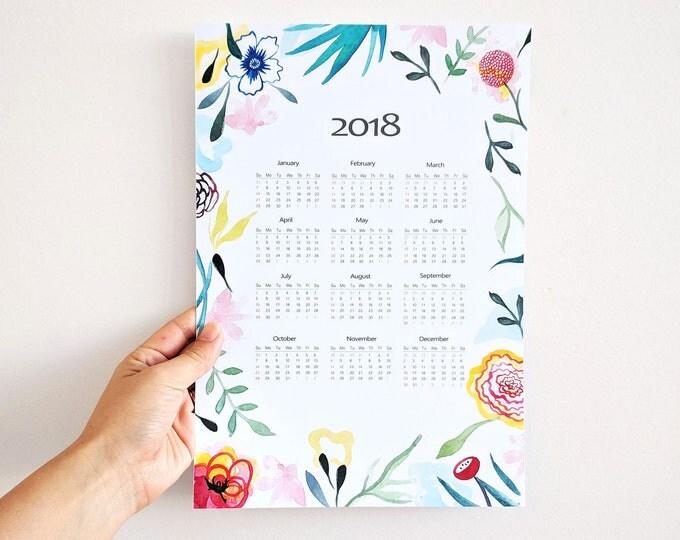 Featured listing image: Calendario 2018. Calendario floral de pared 2018, idea de regalo para año nuevo.