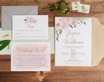 Printable Wedding Invitation   Floral Wedding   Wedding Invitations   Printable Invitations   Rustic Wedding Invite   Sophie Suite