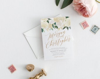 Printable Wedding Invitation, Floral Wedding Invitations, Elegant Wedding Invitation, Printable Wedding Stationery, The Riana Suite