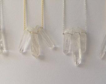 Tri-crystal quartz pendant silver necklace