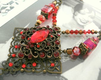 "Retro necklace styleGatsby, crazy year, vintage Red Crystal ""SORAYA"" for wedding, anniversary"