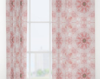 """Rose Quartz Mandala Window curtains ~ Single or Double panel 50"""" x 84"""" each ~ Statement Decor for Bedroom & Living room ~ Home accessories"""