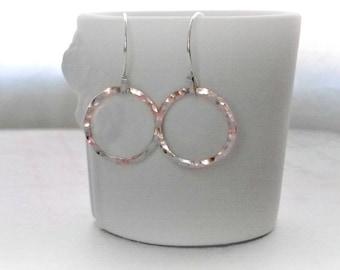 Sterling Silver Hoop Earrings Handmade Hammered Hoops Gifts for Her