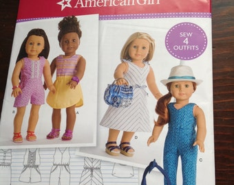 American Girl doll clothes pattern, romper. Jumpsuit, sport dress, shoulder bag, purse, elastic waist dress, sleeveless jumpsuit,