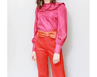 Vintage 1980's Deep Pink Ruffled Silky Blouse