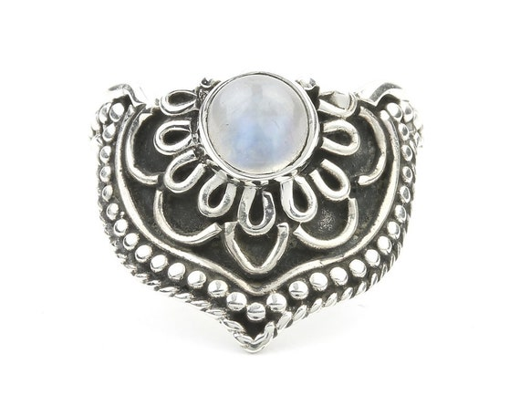 Moonstone Mandala Ring, Sterling Silver Moonstone Ring, Ethnic Ring, Stone Jewelry, Gemstone, Crystal, Boho, Gypsy, Hippie Jewelry