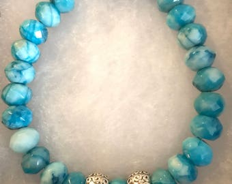 Crazy lace agate gemstone bracelet with silver accent beads, rondelle bead