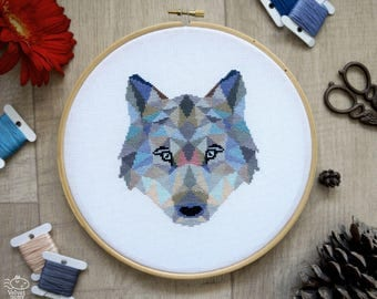 Wolf Cross Stitch Pattern, Geometric Animals Cross Stitch, Wolf Embroidery, Nursery Wall Decor, Woodland, PDF Format, Instant Download