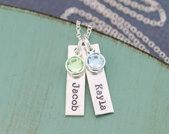 Silver Tag Necklace • Handstamped Tag Name Necklace Mom Jewelry Stocking Stuffer Custom Name Child Mommy Necklace • Birthstone Mother Gift