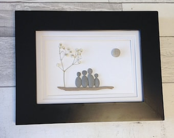 Pebble Art Family of Four ~ unique anniversary gift, housewarming gift, retirement gift, birthday gift, unique family art, original art
