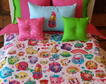 """Handmade 6-PC-bedding set Shopkins theme for American girl doll  or any 18"""" dolls bed"""
