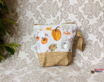 Hand painted Cosmetic Bag / Make up Bag / Tote / Pouch /Travel Case/Halloween/Thanksgiving/Pumpkin/Fall holidays/Halloween Bag/Rowan/autumn