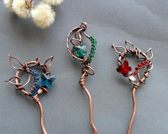 Elven Hair pin, Copper hair fork, Elf Hair acessories, Hair clip, Decorative comb, Hair wire, Hair holder, Gift for womens, Hair jewelry