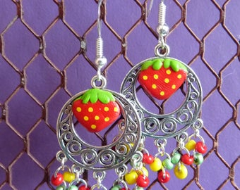 Sterling silver 925 earrings Strawberry clay polymer and seed beads