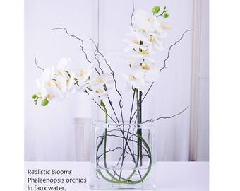 White, silk, orchid/orchids, phalaenopsis, plant, glass, faux water, acrylic/illusion, Real Touch flowers, floral arrangement/centerpiece