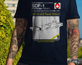 SDF-1 Service and Repair Manual  Men's Unisex T-Shirt - Macross Robotech Super Dimensional Anime Manual Parody Clothing
