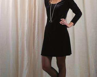 90s babydoll velvet dress / Express / empire waist / 90s velvet dress long sleeve  / small