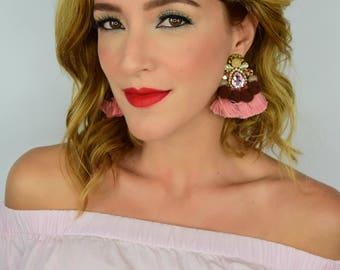 Pom Pom Earrings ,Fall Dangle Earrings,Statement Earrings,Multicolor Earrings,Studded Earrings, Dangle, Tassel Long Earrings, Brown Earrings