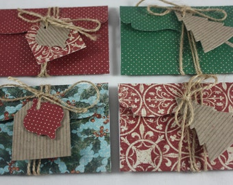 Christmas Gift Card Money Holders Pack of 4 Includes Tags And Twine Handmade Great for Cash Or Small Flat Gifts Holly
